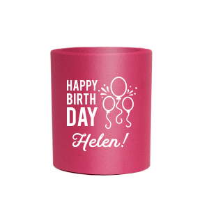 Personalized Coral Flat Can Cooler with Matte White Ink Cup Ink Colors has a Balloons graphic and is good for use in Kid Birthday, Birthday themed parties and can be customized to complement every last detail of your party.