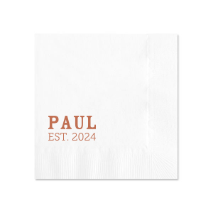 Our custom White 4-ply Cocktail Napkin with Satin Copper Penny Foil will add that special attention to detail that cannot be overlooked.