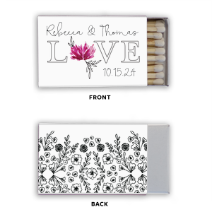 ForYourParty's elegant Photo/Full Color Matchbox with Matte Black Ink Print Color has a Garden Pattern graphic and is good for use in Floral themed parties and can be personalized to match your party's exact theme and tempo.