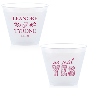 ForYourParty's personalized 10 oz Frost Flex Cup with Matte Dark Magenta Ink has a Twig Flourish graphic and a Yes 2 graphic and is good for use in Wedding themed parties and can't be beat. Showcase your style in every detail of your party's theme!