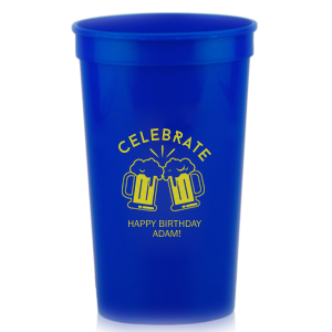 Personalized Navy 16 oz Stadium Cup with Matte Chartreuse Ink Cup Ink Colors has a Beer Toast graphic and is good for use in Birthday, Drinking themed parties and can be personalized to match your party's exact theme and tempo.