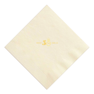 ForYourParty's personalized Ivory Cocktail Napkin with Shiny 18 Kt Gold Foil Color has a Diamond Ring graphic and is good for use in Wedding themed parties and will impress guests like no other. Make this party unforgettable.