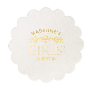 Personalized Eggshell Square Coaster with Shiny 18 Kt Gold Foil Color has a Marigold Vine graphic and is good for use in Accents themed parties and will add that special attention to detail that cannot be overlooked.