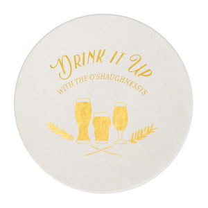 ForYourParty's personalized Eggshell Round Coaster with Shiny 18 Kt Gold Foil has a Hops Flourish graphic and is good for use in Beer, Festival themed parties and can't be beat. Showcase your style in every detail of your party's theme!