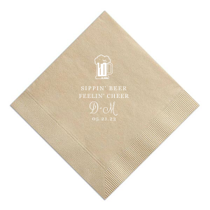 Custom Sand Cocktail Napkin with Matte White Foil has a Brew graphic and is good for use in Drinks themed parties and can be customized to complement every last detail of your party.