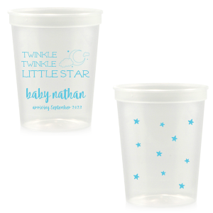 Customize this clear plastic cup for an adorable drink accessory to your star and moon, lullaby, or nursery rhyme themed baby shower! Add the baby's name and expected arrival for a unique touch the mother will love and guests can take home as personalized party favors.