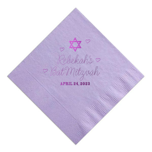 ForYourParty's personalized Lavender Cocktail Napkin with Shiny Amethyst Foil has a Star 1 graphic and is good for use in Stars, Jewish Symbols themed parties and can't be beat. Showcase your style in every detail of your party's theme!