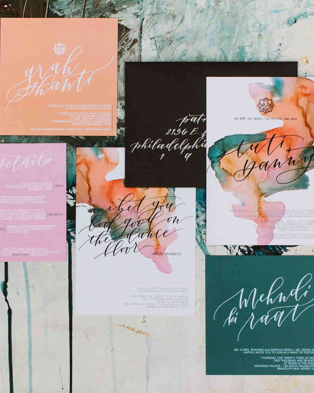 custom watercolor wedding invitation