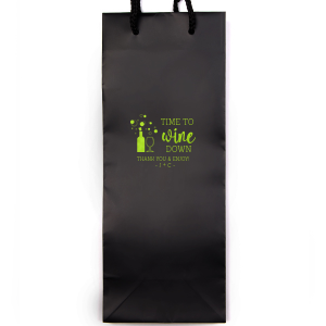 ForYourParty's elegant White Wine Gift Bag with Shiny Kiwi / Lime Foil Color has a Wine Bottle graphic and is good for use in Wine and Drink themed parties or favors and will give your party the personalized touch every host desires.