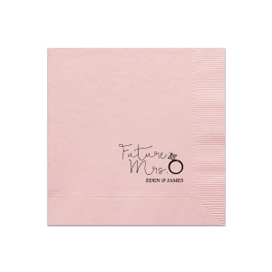 Our personalized Ballet Pink Cocktail Napkin with Matte Black Foil has a Diamond Ring graphic and is good for use in Fashion, Wedding, Bridal Shower themed parties and will make your guests swoon. Personalize your party's theme today.