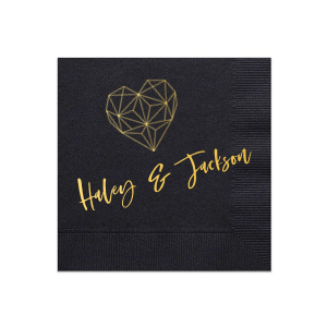 ForYourParty's chic Black Cocktail Napkins with Bleed with Shiny 18 Kt Gold Foil has a Geo Heart graphic and is good for use in Hearts, Geometric, Wedding themed parties and can't be beat. Showcase your style in every detail of your party's theme!