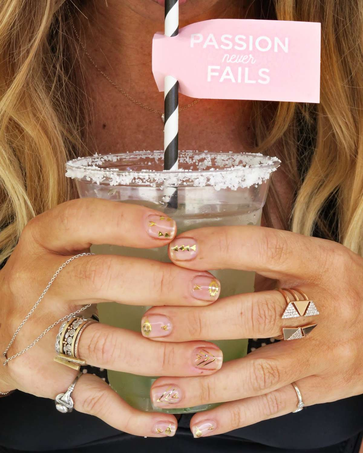 personalized straw flags with poolside margaritas