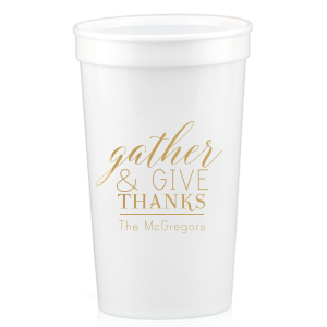 The ever-popular Gold 16 oz Stadium Cup with Matte Sand Ink Cup Ink Colors will impress guests like no other. Make this party unforgettable.