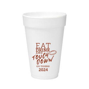 ForYourParty's personalized Matte Brick Ink 20 oz Styrofoam Cup with Matte Brick Ink Cup Ink Colors has a Football graphic and is good for use in Sports themed parties and will look fabulous with your unique touch. Your guests will agree!