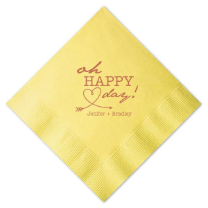 Our personalized Pastel Yellow Cocktail Napkin with Satin Copper Penny Foil Color has a Arrow Heart graphic and is good for use in Bridal Showers, Engagement Parties and Weddings and will impress guests like no other. Make this party unforgettable.
