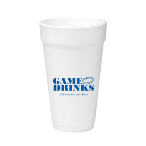 Personalized Matte Royal Blue Ink 12 oz Styrofoam Cup with Matte Royal Blue Ink Cup Ink Colors has a Football graphic and is good for use in Sports themed parties and can't be beat. Showcase your style in every detail of your party's theme!