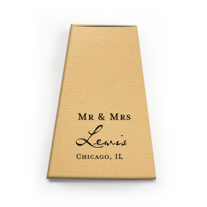 Our beautiful custom Linen Pearl Gold Rectangle Box with Matte Black Foil will make your guests swoon. Personalize your party's theme today.