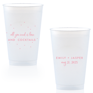 ForYourParty's elegant Matte Rouge Ink 10 oz Frost Flex Cup with Matte Rouge Ink Cup Ink Colors has a Glitter Design graphic and is good for use in Lovely Press themed parties and can be customized to complement every last detail of your party.