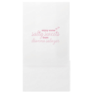 Indulge guests with salty sweets they can take home in these adorable personalized party bags. Perfect for a dessert bar, the hand lettered script and little hearts give a playful feminine touch your bride will love at her bridal shower or bachelorette party.