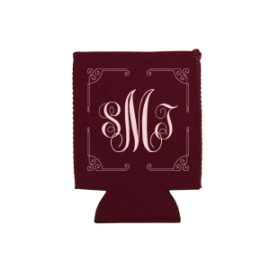 Personalized Maroon Round Can Cooler with Matte Blush Ink has a Rococo Frame  graphic and is good for use in Anniversary, Wedding, and Birthday themed parties and will add that special attention to detail that cannot be overlooked.