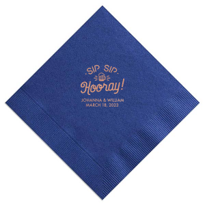 Personalize this Royal Blue wedding napkin with Copper foil color for an elegant fun look perfect for your bridal shower, engagement party or wedding. Our Sip Sip Hooray graphic gives just the right trendy touch to accent your names!