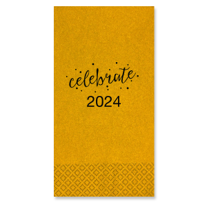 Custom Super Gold Cocktail Napkin with Matte Black Foil has a Celebrate graphic and is good for use in Words, Calligraphy, Holiday themed parties and can be customized to complement every last detail of your party.