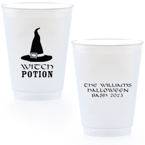 Personalized Matte Black Ink 9 oz Frost Flex Cup with Matte Black Ink Screen Print has a Witch's Hat graphic and is good for use in Halloween themed parties and can't be beat. Showcase your style in every detail of your party's theme!
