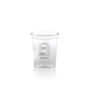 Our beautiful custom Matte Slate Gray Ink Plastic Shot Glass with Matte Slate Gray Ink Cup Ink Colors has a RIP graphic and is good for use in Halloween themed parties and will make your guests swoon. Personalize your party's theme today.