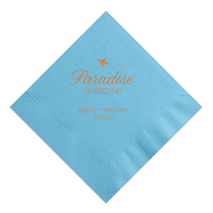 This Turquoise Dinner Napkin with Tangerine foil has an airplane graphic with script and block type that makes it perfect for a destination wedding.