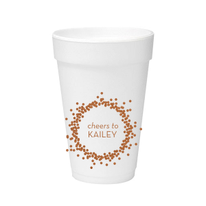Our custom Copper Ink 16 oz Styrofoam Cup with Copper Ink Cup Ink Colors has a Confetti Frame graphic and is good for use in Frames themed parties and can't be beat. Showcase your style in every detail of your party's theme!