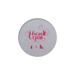 Our custom Stardream White Round Label with Matte Amethyst Ink Color has a Thank You graphic and is good for use in Words themed parties and can be personalized to match your party's exact theme and tempo.