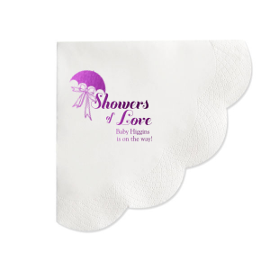 Personalized Honeydew Cocktail Napkin with Shiny Amethyst Foil has a Umbrella with Bow graphic and is good for use in Baby Shower and Bridal Shower themed parties and will make your guests swoon. Personalize your party's theme today.