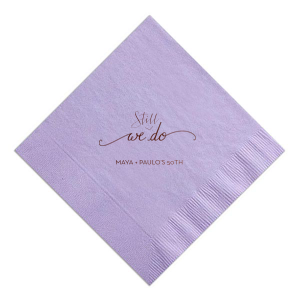 Have the best party details ever with this custom napkin. Our Lavender napkin with Shiny 18Kt Gold foil color make this design the perfect addition for any anniversary party. Add your names and wedding date for a personal touch you and your guests will love!