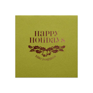 Our custom Moss Green Dinner Napkin with Shiny Merlot Imprint Color has a Holly Bells graphic and is good for use in Holiday, Christmas themed parties and will look fabulous with your unique touch. Your guests will agree!