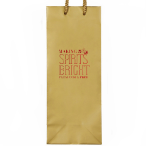 Our personalized Gold Wine Euro Bag with Shiny Convertible Red Foil has a Pointsettia graphic and is good for use in Holiday and Christmas themed parties and can't be beat. Showcase your style in every detail of your party's theme!