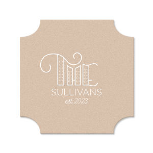 ForYourParty's elegant Kraft with Blush back Nouveau Coaster with Matte White Foil Color has a Accent The graphic and is good for use in Accents themed parties and can be customized to complement every last detail of your party.