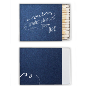 The ever-popular Stardream Navy Classic Matchbox with Matte White Foil has a Paper Airplane graphic and is good for use in Kid Birthday, Birthday themed parties and will look fabulous with your unique touch. Your guests will agree!
