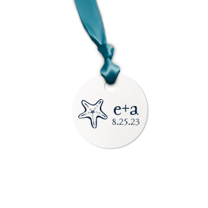 Our beautiful custom Stardream Crystal White Rectangle Gift Tag with Matte Navy Foil has a Starfish graphic and is good for use in Beach/Nautical themed parties and can be personalized to match your party's exact theme and tempo.