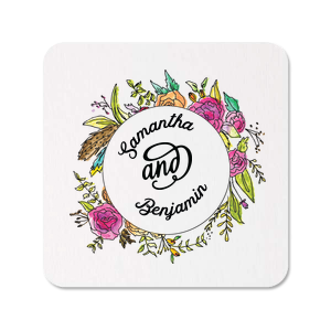 Our custom Photo/Full Color Square Coaster with Matte Black Ink Digital Print Colors has floral wreath graphic and is good for use in Garden themed parties and will impress guests like no other. Make this party unforgettable.
