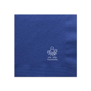 ForYourParty's personalized Royal Blue Dinner Napkin with Matte White Foil has a Octopus graphic and is good for use in Beach/Nautical, Animals, Kid Birthday themed parties and can be customized to complement every last detail of your party.
