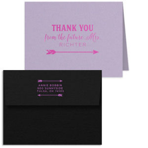 ForYourParty's elegant Poptone Lavender Classic Note Card with Envelope with Satin Fuchsia Foil has an Arrow graphic and is good for use in Bridal Shower and Bachelorette themed parties and will add that special attention to detail that cannot be overlooked.