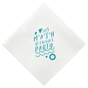 ForYourParty's elegant White Cocktail Napkin with Matte Teal/Peacock Foil has a Confetti Accent graphic and is good for use in Accents, Birthday, Organic themed parties and can be customized to complement every last detail of your party.