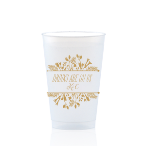 Our personalized Gold Ink 12 oz Frosted Plastic Cup with Gold Ink Cup Ink Colors has a Floral Frame 1 graphic and is good for use in Floral, Frames themed parties and will impress guests like no other. Make this party unforgettable.