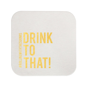 Our beautiful custom White Square Coaster with Shiny 18 Kt Gold Foil will look fabulous with your unique touch. Your guests will drink to that!