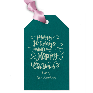 Our custom Poptone Teal/Peacock Arch Gift Tag with Shiny Green Tea Foil has a Merry Holidays graphic and is good for use in Christmas and Holiday themed parties and gift giving and will add that special attention to detail that cannot be overlooked.