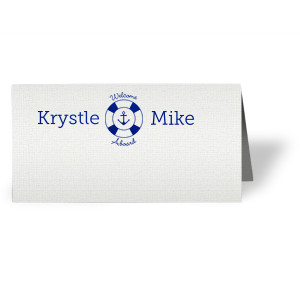 Seat guests with your theme! Customize these Welcome Aboard place cards for a detail sure to impress. Our Anchor and Life Preserver graphic is the perfect nautical touch for your beach or ocean theme. Just write in your guest's name and set for a complete table.