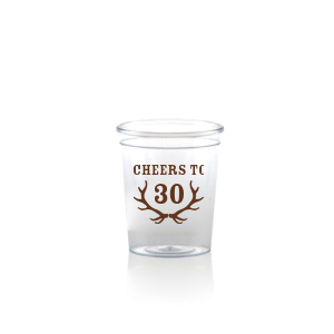 The ever-popular Matte Chocolate Ink Plastic Shot Glass with Matte Chocolate Ink Print Color has a Antlers graphic and is good for use in Animals themed parties and will look fabulous with your unique touch. Your guests will agree!