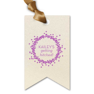 The ever-popular Stardream Ivory Double Point Gift Tag with Satin Plum Foil Color has a Confetti Frame graphic and is good for use in Frames themed parties and couldn't be more perfect. It's time to show off your impeccable taste.