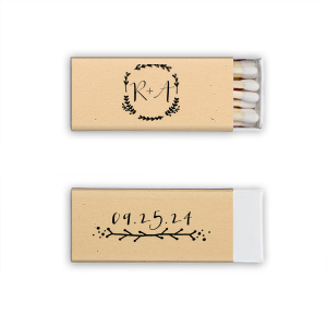 ForYourParty's elegant Natural Sand Cigar Matchbox with Matte Black Foil Color has a Leaf Frame graphic and a Leaf Vine graphic and is good for use in Frames themed parties and couldn't be more perfect. It's time to show off your impeccable taste.