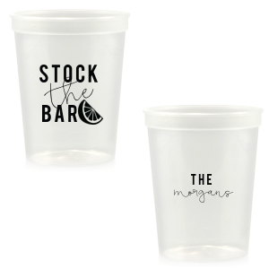 ForYourParty's chic Clear 16 oz Stadium Cup with Matte Black Ink Cup Ink Colors has a Lemon Wedge graphic and is good for use in Food, Drinks themed parties and are a must-have for your next event—whatever the celebration!